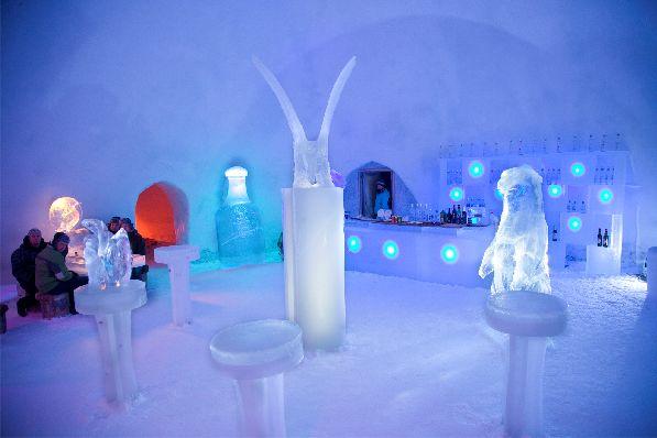 Взрослым в арктическом баре предлагают согревающие алкогольные напитки и коктейли.