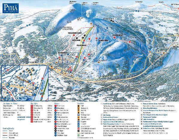 Схема трасс и спусков в Пюхе.