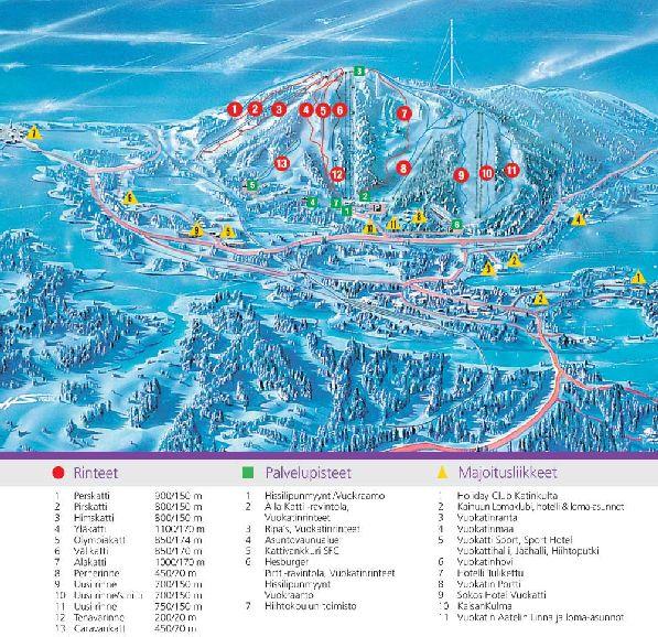 Детальная карта-схема курорта Вуокатти (увеличивается по клику).