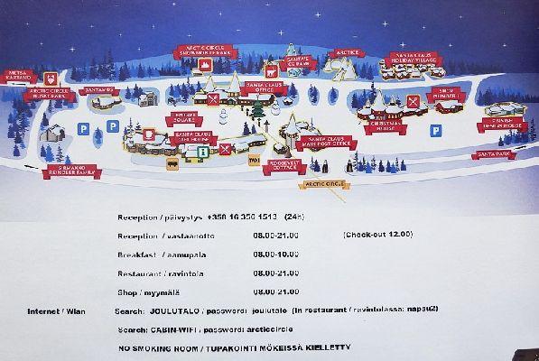 Карта деревушки финского Деда мороза и график её работы.