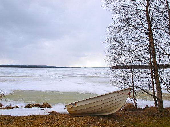 А на севере пейзажи более скромные. Где-то в Лапландии в мае.