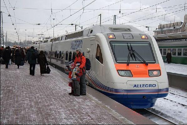 Посадка на скоростной поезд ''Аллегро''.