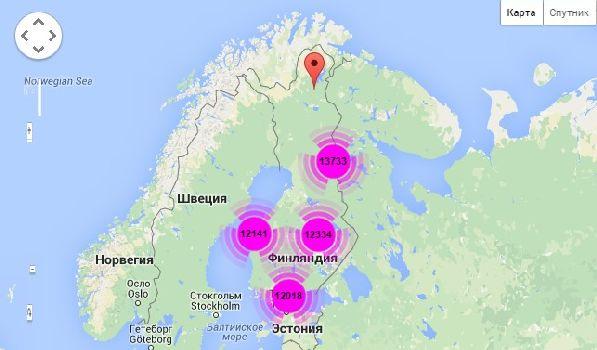 Схематическая карта с отмеченными на ней финскими аэропортами.