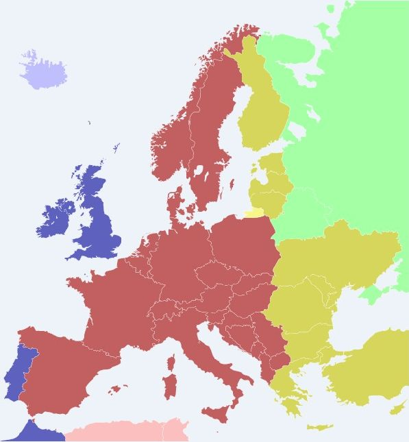 Розовым цветом отмечены страны, часовой пояс которых  UTC+2.